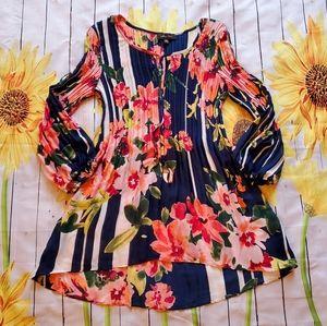 """Melissa Paige"" Floral Crinkle Shirt"